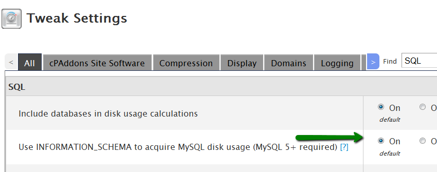 disable mysql stats on cpanel