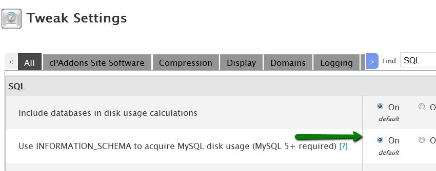 disable mysql stats on cpanel