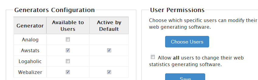disable stats in cpanel