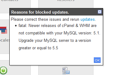 WHM update was blocked due to an outdated MySQL version.  WHM 11.40 and later requires MySQL 5.1.
