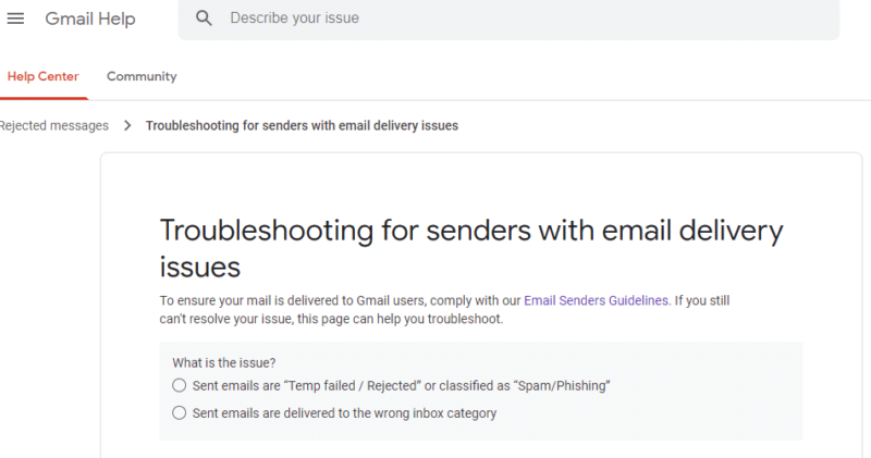 Gmail form for blacklist removal.