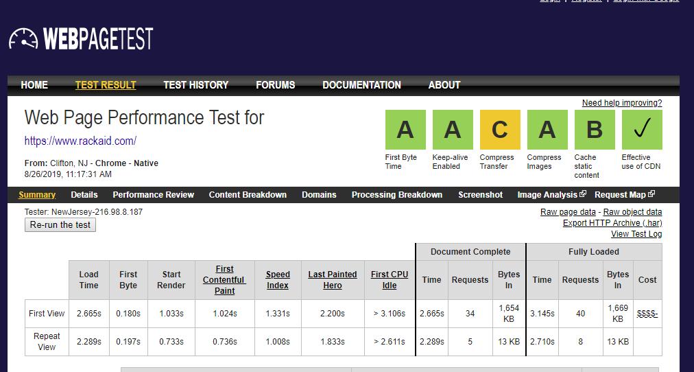 web page test performance optimization