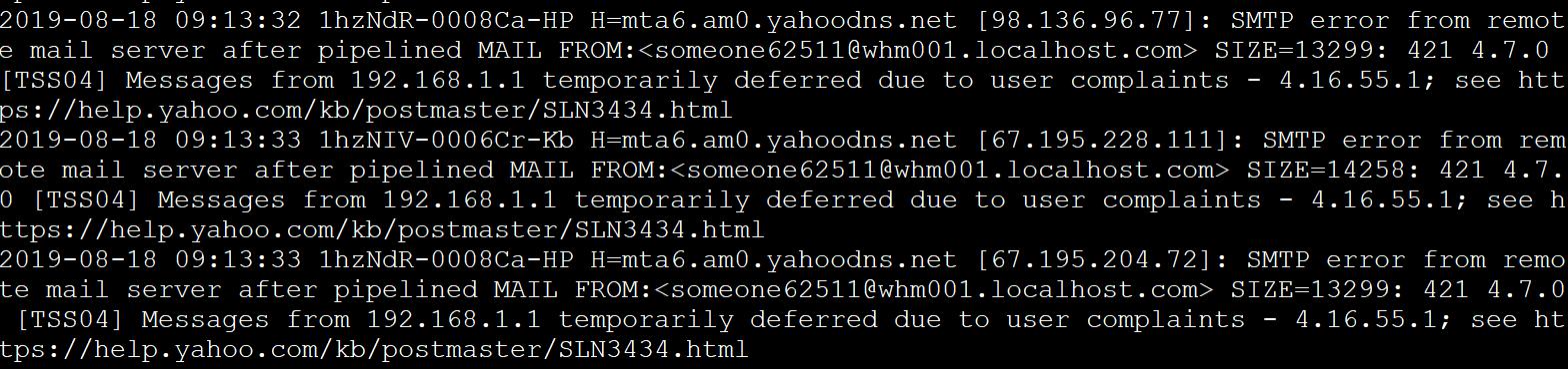 yahoo mail 421 smtp error