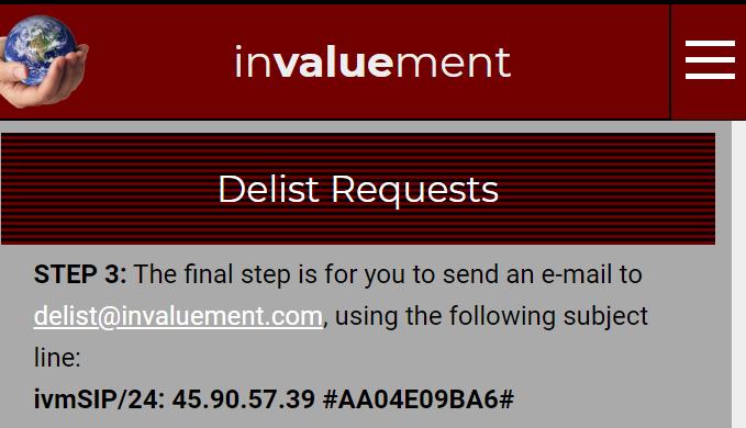 invaluementsip delist request