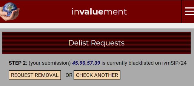 invaluement blacklist removal