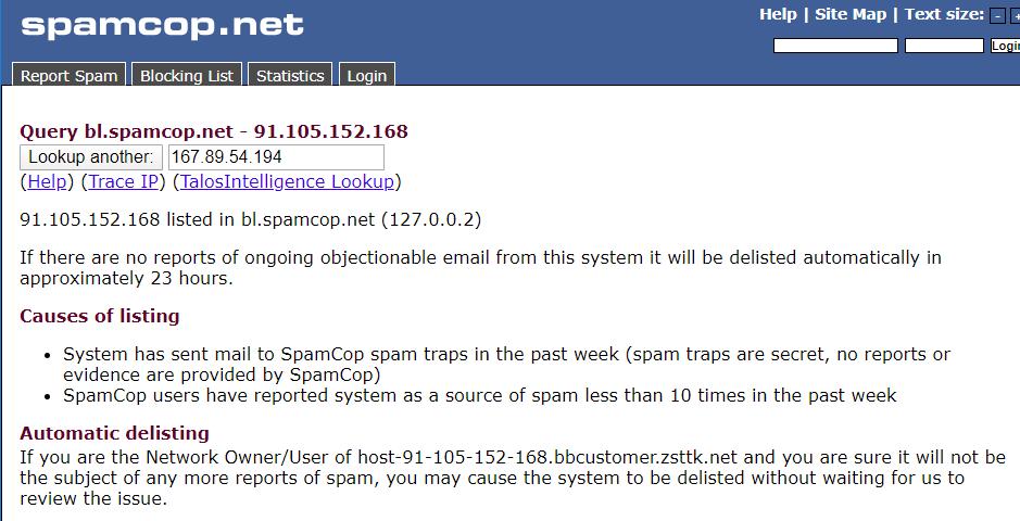 spamcop blacklist