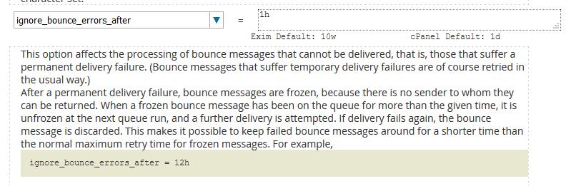 cpanel exim ignore bounce errors